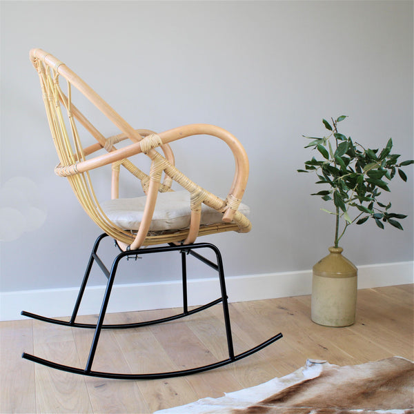 Bali Rattan Cane & Wicker Rocking Chair Side - The Rattan Company