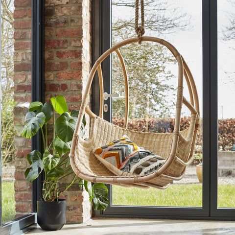 Berlin Natural Rattan Hanging Chair - The Rattan Company