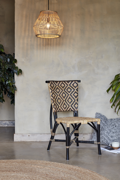 Bima Black and Natural Rattan Chair with Lulu Lampshade - The Rattan Company