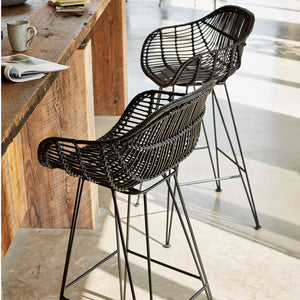 Black Rattan Java Bar Stools The Rattan Company