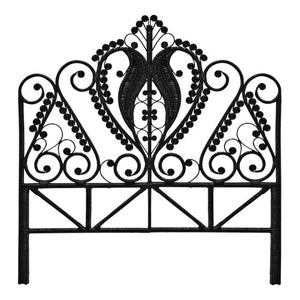Black Double Peacock Headboard - The Rattan Company