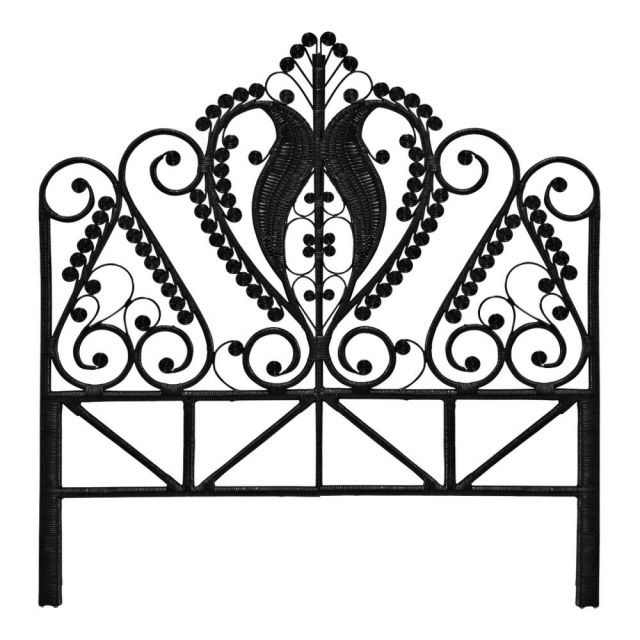 Peacock Black Rattan Headboard (King)