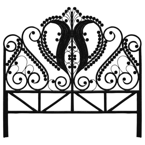 Black Rattan Peacock Super King Size Headboard Natural - The Rattan Company