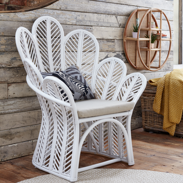 Celeste White Rattan Accent Chair - The Rattan Company