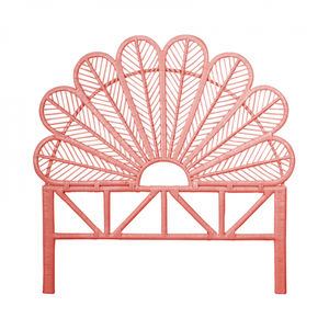 Daisy Rattan Double Headboard in Peach - The Rattan Company