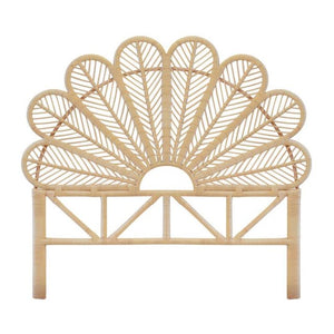 Daisy Luxury Double Bed Natural Rattan Headboard - The Rattan Company
