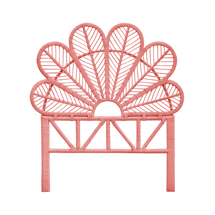 Rattan Daisy Pink Single Bed Headboard - The Rattan Company