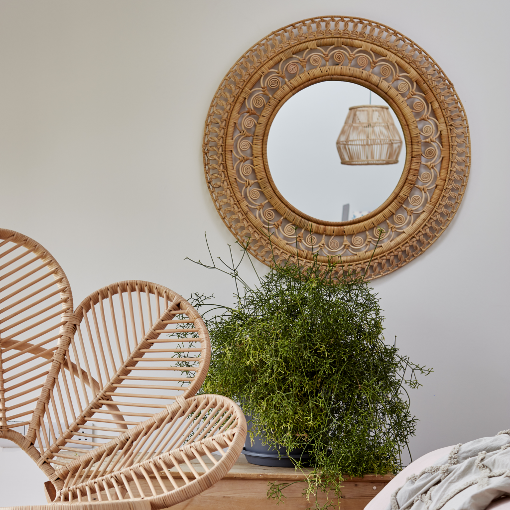 Large Rattan Wall Mirror - The Rattan Company