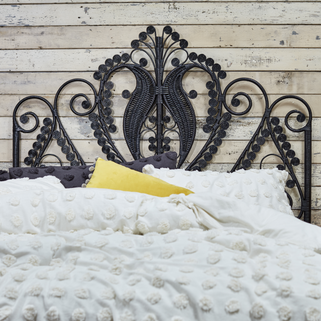 Double Peacock Black Rattan Headboard - The Rattan Company