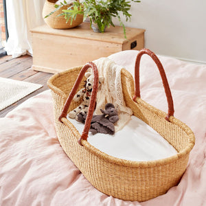 Esi Moses Basket with Tan Leather Handles