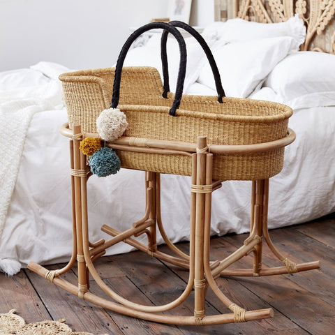 Esi Moses Basket with Black Handles