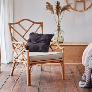 Ezzie Chippendale Natural Rattan Armchair With Cushion The Rattan Company