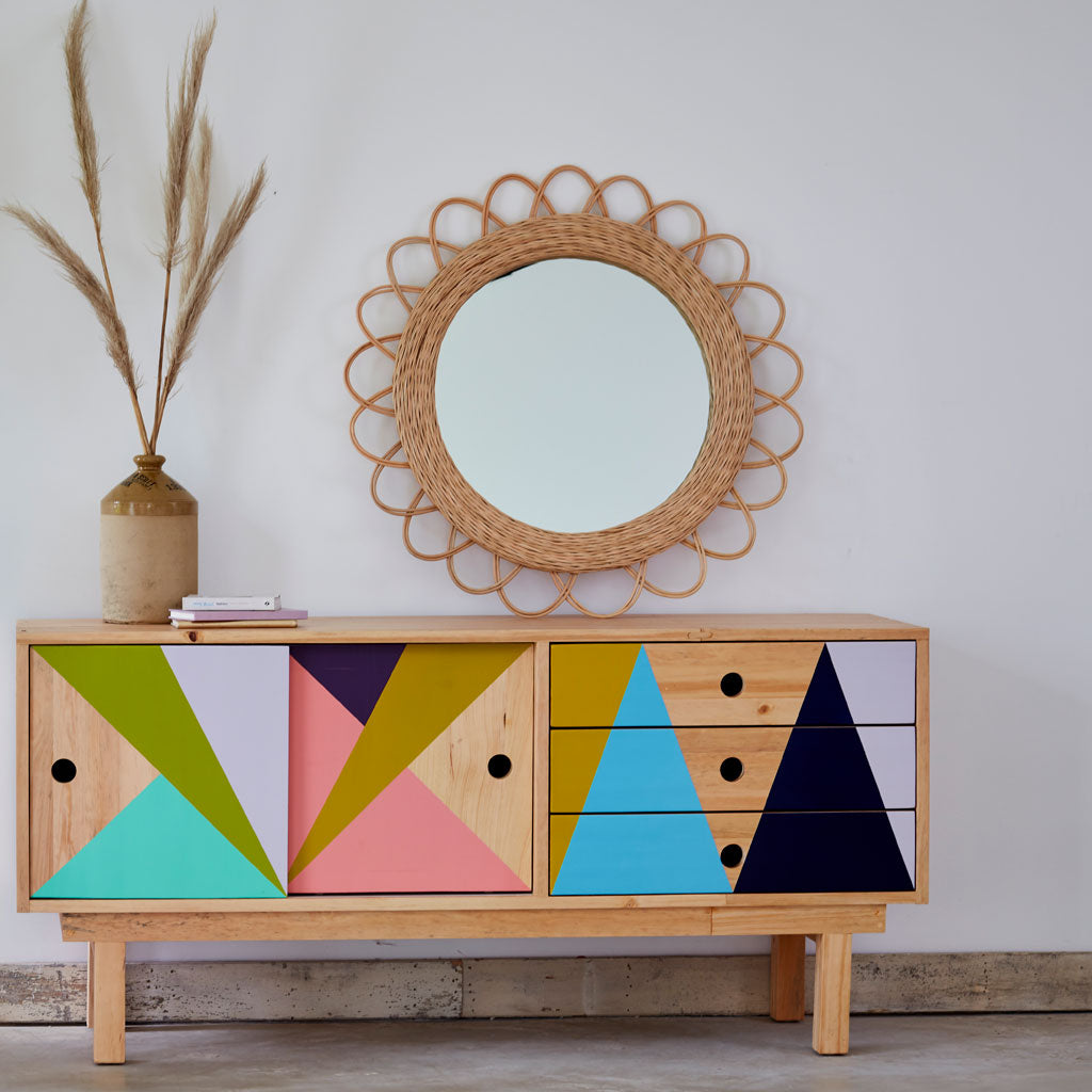 Geometric Recycled Wood Cabinet The Rattan Company