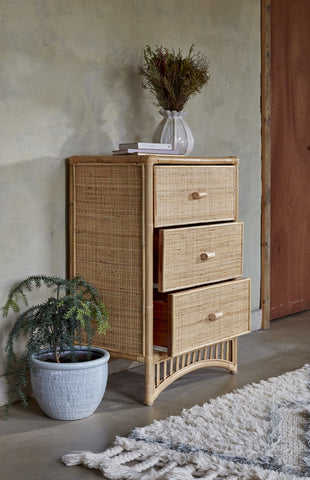 Iris 3 Drawer Natural Rattan Cupboard - The Rattan Company