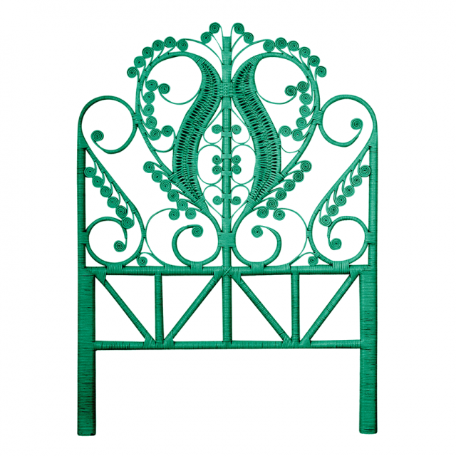 Peacock Jade Rattan Single Bed Headboard - The Rattan Company