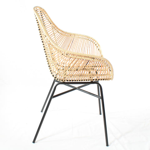 Java Rattan Armchair with Iron Frame Cutout Forward - The Rattan Company