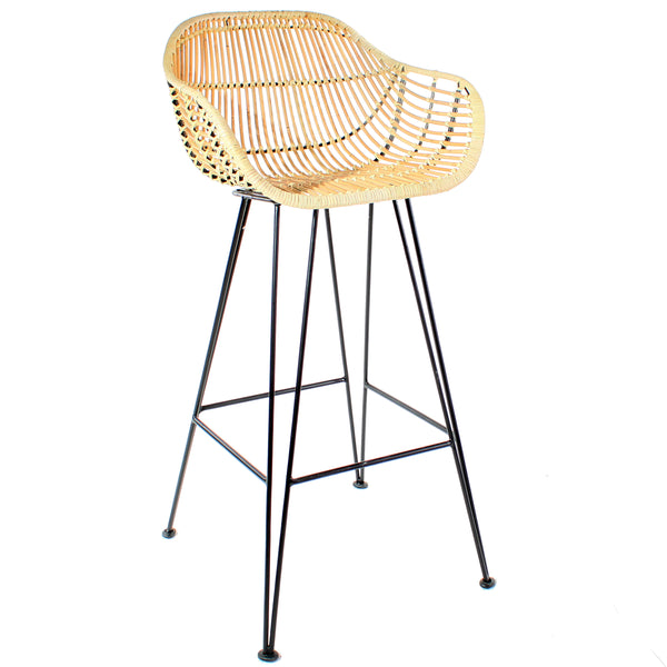 Java Rattan Cane Bar Stool with Iron Legs Cutout - The Rattan Company