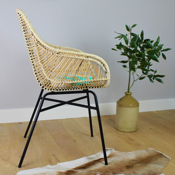 Java Rattan Dining Chair with Iron Frame and Plant Facing Side - The Rattan Company