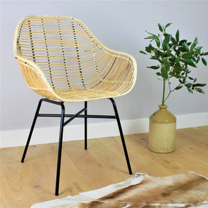 Java Wicker Rattan Dining Chair with Iron Frame - The Rattan Company