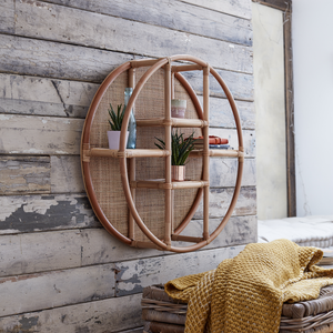 Lacey Natural Rattan Wall Shelf with Woven Back - The Rattan Company