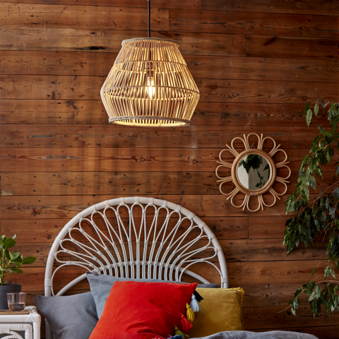 Natural Rattan Lulu Lampshade in Kids Bedroom - The Rattan Company