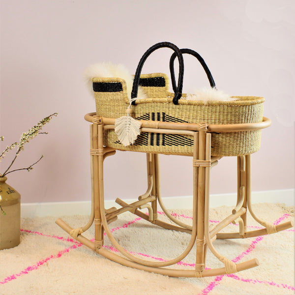 Martha Rattan Moses Basket Stand with Elephant Grass Moses Basket - The Rattan Company