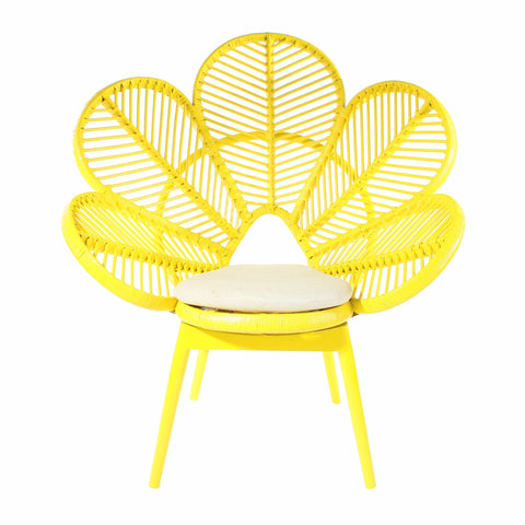 Mustard Rattan Wicker Petal Chair  - The Rattan Company