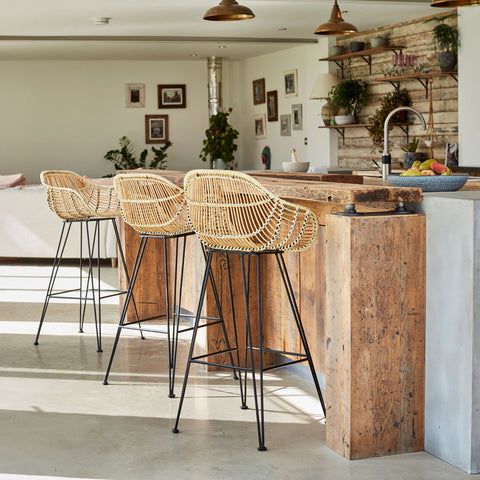 Natural Rattan Java Bar Stools - The Rattan Company
