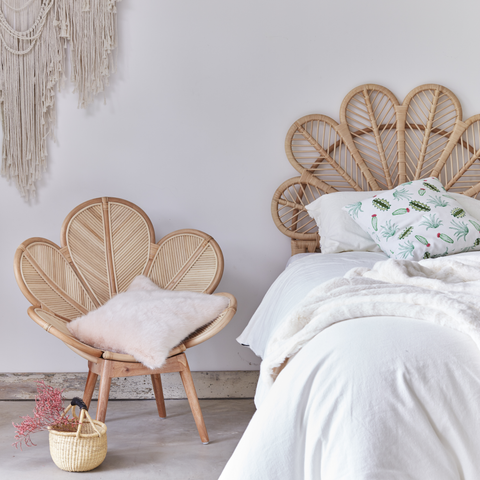 Natural Rattan Daisy Single Headboard with Daisy Chair  - The Rattan Company