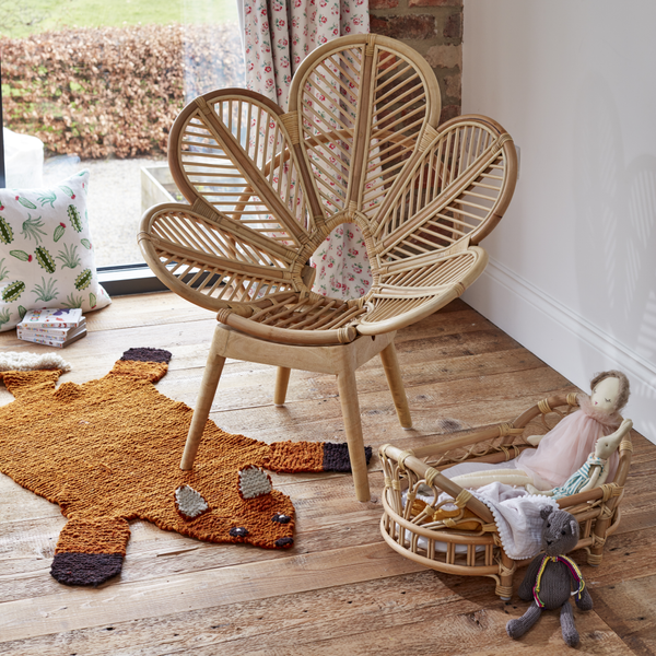 Natural Rattan Dolls Moses Basket with Kids Petal Chair - The Rattan Company