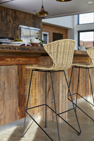 Natural Rattan and Iron Komodo Bar Stool - The Rattan Company