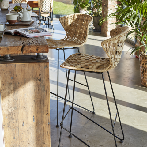 Natural Rattan and Iron Komodo Bar Stools - The Rattan Company