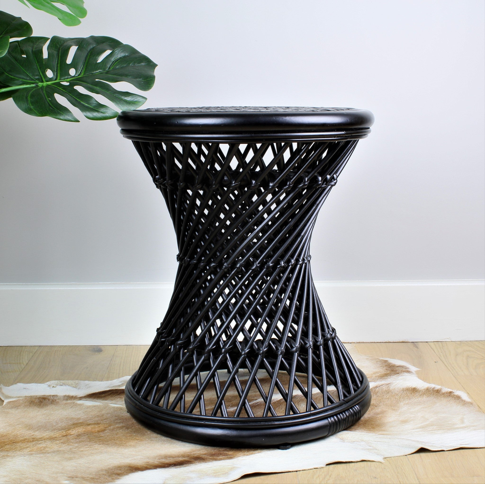 Natural Rattan Cane Koko Stool in Black - The Rattan Company