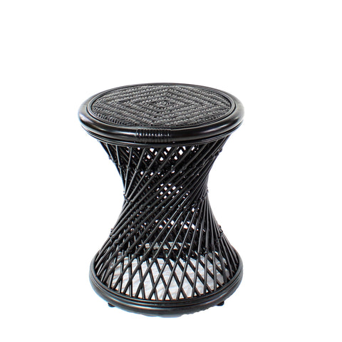 Natural Rattan Cane Koko Stool in Black Cutotut - The Rattan Company