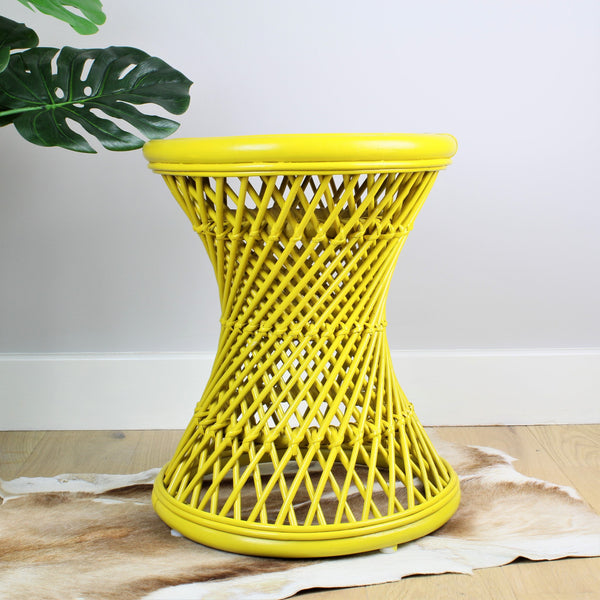 Natural Rattan Cane Koko Stool in Mustard - The Rattan Company