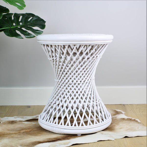 Natural Rattan Cane Koko Stool in White - The Rattan Company