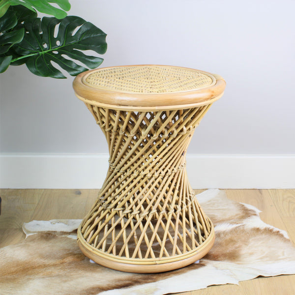 Natural Rattan Cane Koko Stool with Wicker Seat - The Rattan Company