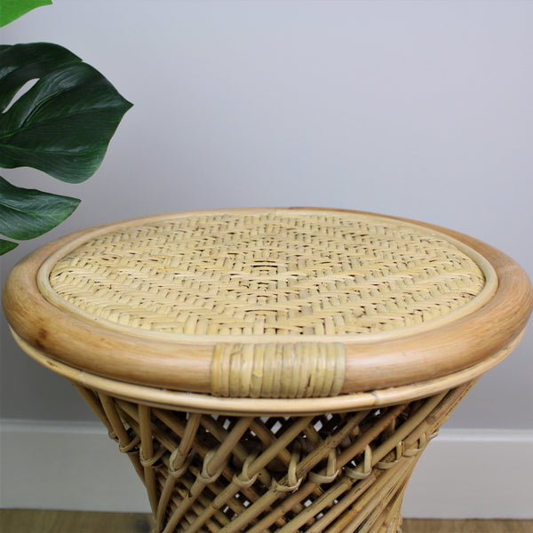 Natural Rattan Cane Koko Stool with Wicker Seat Detail - The Rattan Company
