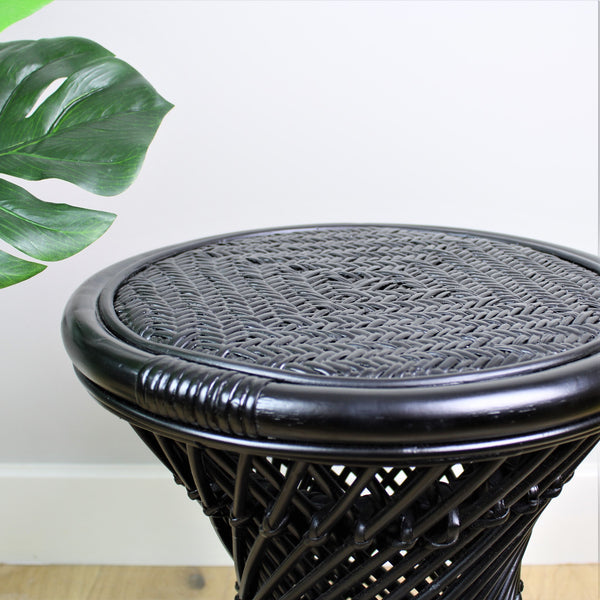 Natural Rattan Cane Koko Stool with Wicker Seat in Black Detail - The Rattan Company
