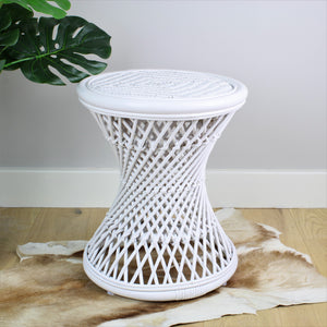 Natural Rattan Cane Koko Stool with Wicker Seat in White - The Rattan Company