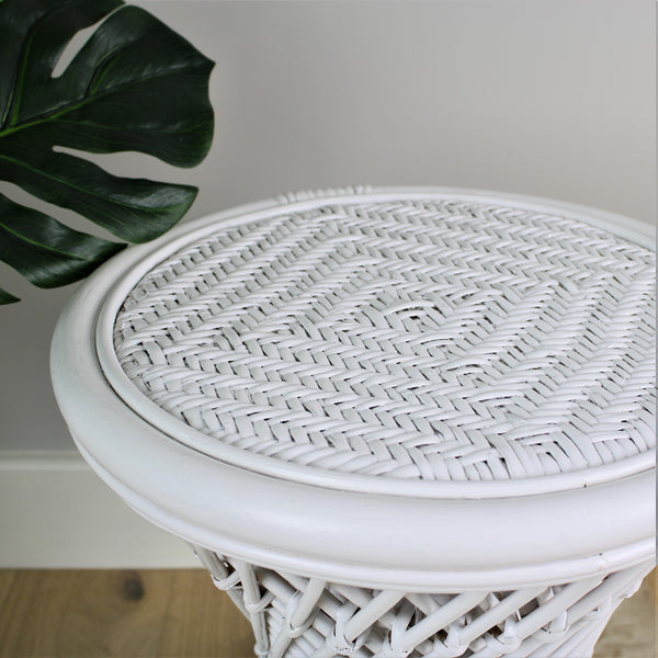 Natural Rattan Cane Koko Stool with Wicker Seat in White Detail - The Rattan Company