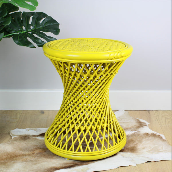 Natural Rattan Cane Koko Stool with wicker Seat in Mustard - The Rattan Company