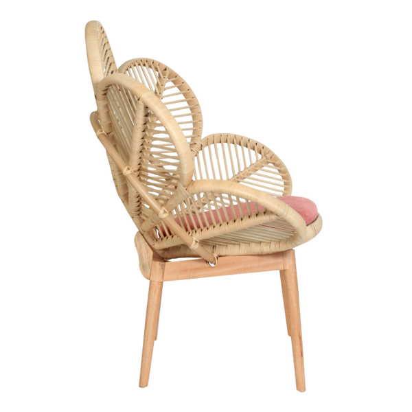 Natural Rattan Petal Chair Side - The Rattan Company