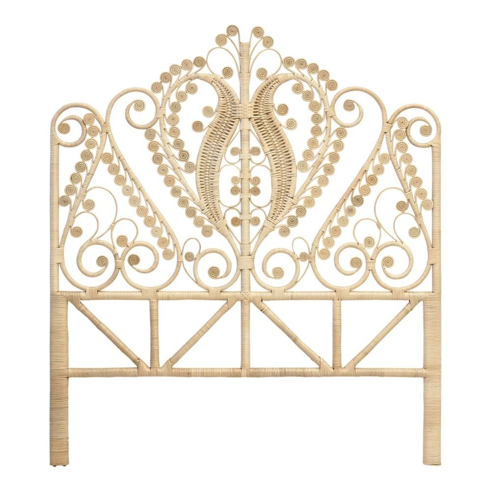Rattan Peacock Double Headboard Natural - The Rattan Company
