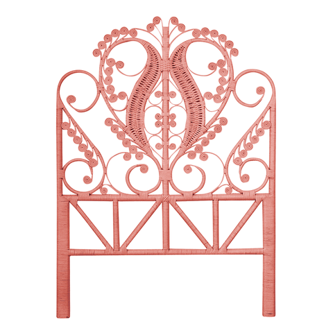 Peacock Peach Rattan Single Bed Headboard - The Rattan Company