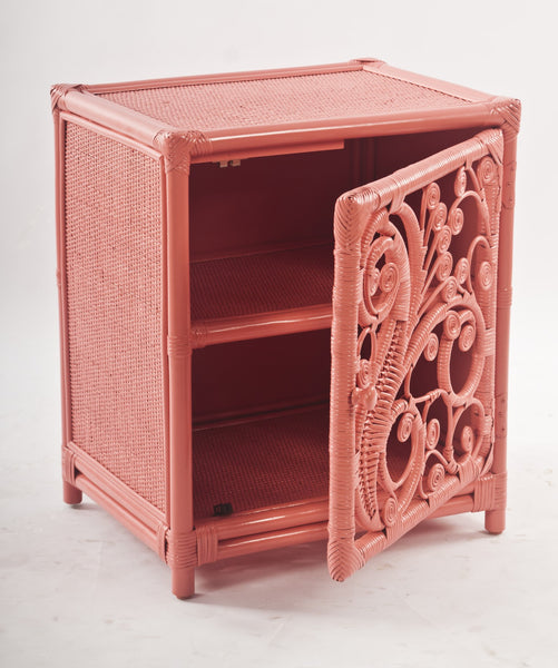 Peacock Peach Rattan Bedside Cabinet with Door Open - The Rattan Company