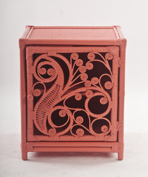 Peacock Peach Rattan Bedside Cabinet Front - The Rattan Company