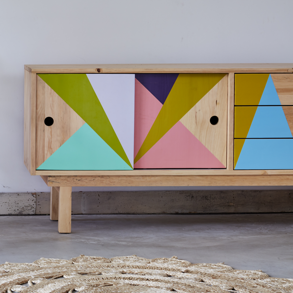 Geometric Patterned Recycled Wood Cabinet