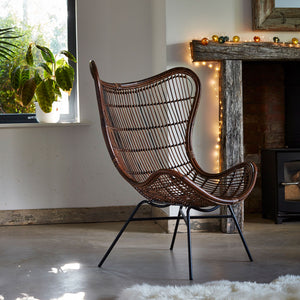 Rattan Tobias Lounge Chair in Antique Brown - The Rattan Company