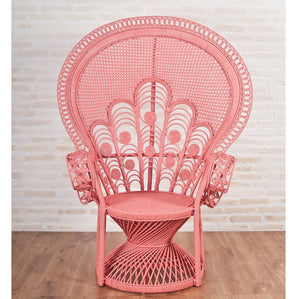 Florence Natural Rattan Cane Peacock Chair in Peach - The Rattan Company